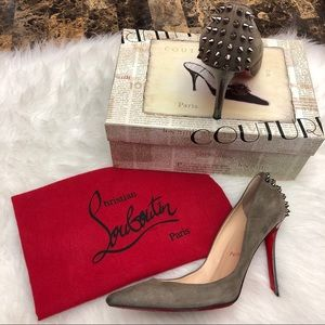 CHRISTIAN LOUBOUTIN Zappa Gray Suede Spiked Pumps